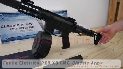 Fucile Elettrico PX9 X9 SMG - Nero - MOSFET ECS - Drum e Silenziatore - Classic Army (ENF010P-1)