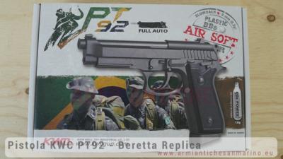 Pistola Softair a Co2 PT92 - Semi-Auto e Automatica - Full-Metal - Scarrellante - KWC (KW-PT92)