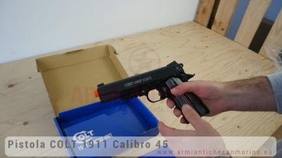 Pistola Softair Colt 1911 Government a CO2 - Nera - Full-Metal - Scarrellante - 17 BBs - CyuberGun (180564)