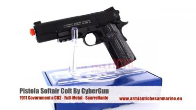 Pistola Colt 1911 Government a CO2 - Nera - Full-Metal - Scarrellante - 17 BBs - CyuberGun (180564)
