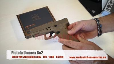 Pistola Glock 19X Scarellante a CO2 - Tan - 18 BB - 4,5 mm - Glock By Umarex (5.8367)