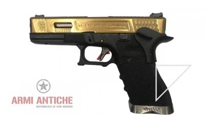 Pistola a Gas Glock 17 G17 Custom - Silver/Oro/Nera - WE (1181)