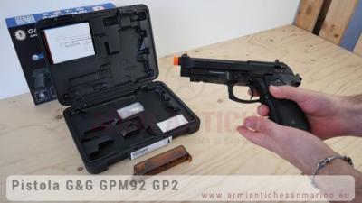 Pistola Softair a Gas GPM-92F GP2 Military NUOVA Versione - Nera - Scarrellante - Full-Metal - G&G (GG-M92-GP2)