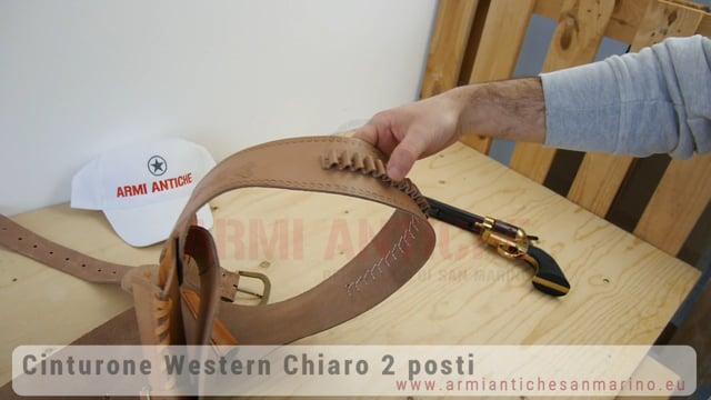 CINTURONE WESTERN 2 PISTOLE IN CUOIO MARRONE CHIARO