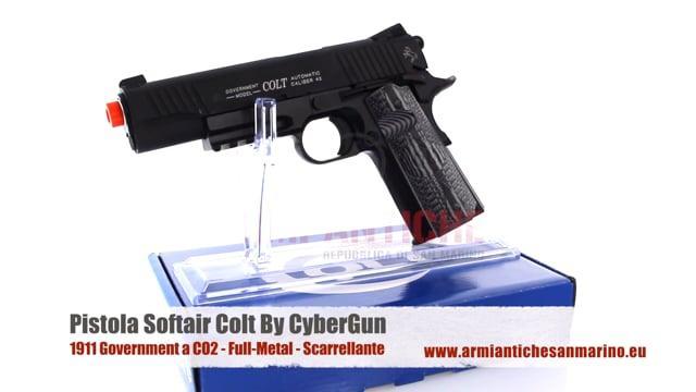 Pistola Colt 1911 Government a CO2 - Nera - Full-Metal - Scarrellante - 17 BBs - CyuberGun (180564)